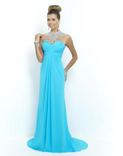 Style 9952 Blush Prom Blue Size 8 Pageant Sequin Straight Dress on Queenly
