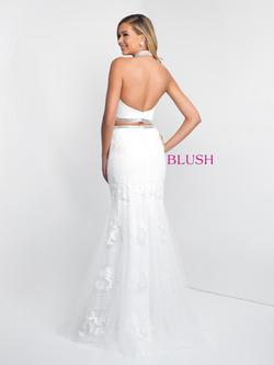 Style 11557 Blush Prom White Size 0 Pageant Sequin Silk Mermaid Dress on Queenly
