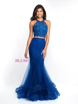 Style 11520 Blush Prom Blue Size 10 Halter Tall Height Lace Mermaid Dress on Queenly
