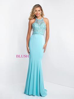 Style C1028 Blush Prom Blue Size 8 Halter Tall Height Mermaid Dress on Queenly