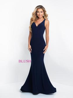 Style C1018 Blush Prom Blue Size 16 Sorority Formal Tall Height Mermaid Dress on Queenly