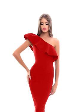 Tarik Ediz Red Size 14 One Shoulder A-line Dress on Queenly