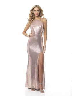 Style 11987 Blush Prom Pink Size 2 Halter Tall Height Side slit Dress on Queenly