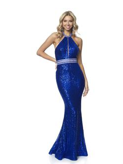 Style 11969 Blush Prom Blue Size 12 Pageant Halter Tall Height Mermaid Dress on Queenly