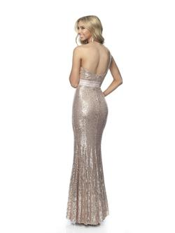 Style 11955 Blush Prom Gold Size 0 Jewelled Prom Jersey Side slit Dress on Queenly