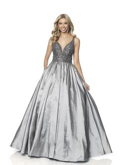 Style 5836 Blush Prom Silver Size 10 Plunge Prom Pockets Ball gown on Queenly