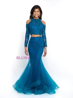 Style 11586 Blush Prom Blue Size 10 Pageant Tall Height Lace Mermaid Dress on Queenly