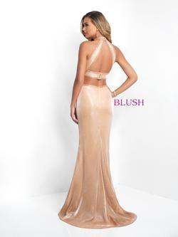Style 11524 Blush Prom Gold Size 4 Pageant Halter Tall Height Mermaid Dress on Queenly