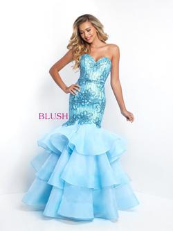 Style 11517 Blush Prom Blue Size 8 Pageant Teal Mermaid Dress on Queenly