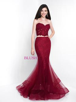 Style 11508 Blush Prom Red Size 4 Strapless Mermaid Dress on Queenly