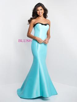 Style C1046 Blush Prom Light Blue Size 6 Tall Height Mermaid Dress on Queenly