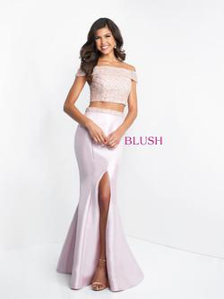 Style C1009 Blush Prom Pink Size 2 Two Piece Prom Mermaid Dress on Queenly
