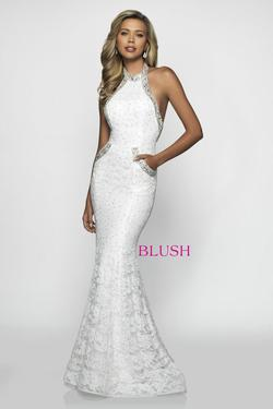 Style C2021 Blush Prom White Size 0 Pageant Mermaid Dress on Queenly