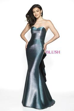Style C2003 Blush Prom Blue Size 4 Pageant Tall Height Mermaid Dress on Queenly