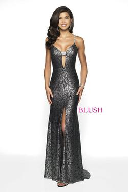 Style 11772 Blush Prom Black Size 4 Pageant Tall Height Side slit Dress on Queenly