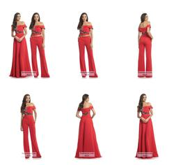 Johnathan Kayne Red Size 8 Jumpsuit A-line Dress on Queenly