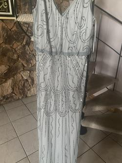 Adrianna Papell Silver Size 8 Light Blue Blue Straight Dress on Queenly