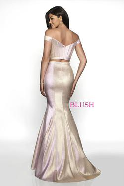 Style 11714 Blush Prom Pink Size 6 Two Piece Prom Rose Gold Mermaid Dress on Queenly