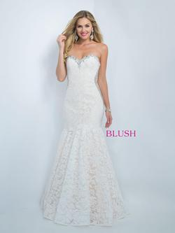 Style 11016 Blush Prom White Size 6 Sequin Mermaid Dress on Queenly