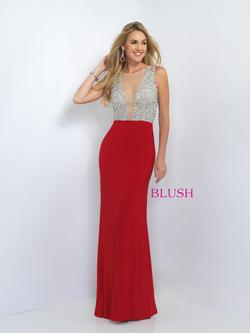 Style 11009 Blush Prom Red Size 4 Train Sheer Tall Height Mermaid Dress on Queenly