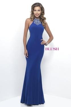 Style 11307 Blush Prom Blue Size 8 Halter Tall Height Mermaid Dress on Queenly