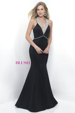Style 11298 Blush Prom Black Size 12 Halter Tall Height Mermaid Dress on Queenly