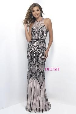 Style 11262 Blush Prom Black Size 4 Halter Nude Tall Height Mermaid Dress on Queenly