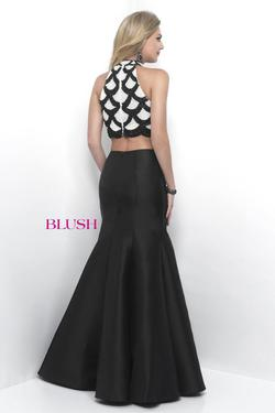 Style 11240 Blush Prom Black Size 8 Halter Tall Height Mermaid Dress on Queenly