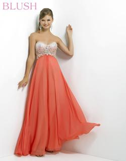 Style 9739 Blush Prom Orange Size 0 Ombre Coral Jewelled Mermaid Dress on Queenly