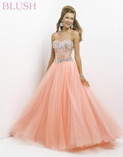 Style 5309 Blush Prom Orange Size 2 Quinceanera Tall Height Ball gown on Queenly