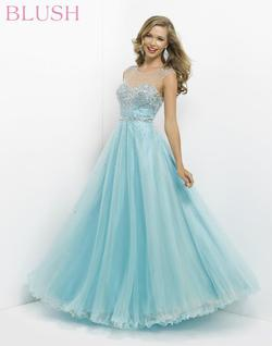 Style 5306 Blush Prom Blue Size 4 Sequin Ball gown on Queenly