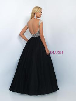 Style 5511 Blush Prom Black Size 14 Pageant Tulle Tall Height Ball gown on Queenly