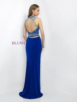 Style 11055 Blush Prom Blue Size 8 Halter Tall Height Straight Dress on Queenly