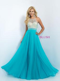 Style 11052 Blush Prom Blue Size 6 Pageant Halter Tall Height A-line Dress on Queenly