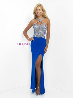Style 11030 Blush Prom Blue Size 2 Sequin Side slit Dress on Queenly