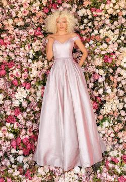 Style 8231 Clarisse Light Pink Size 4 Silver Ball gown on Queenly