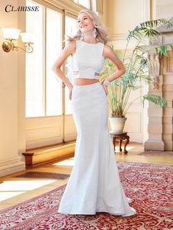Style 3486 Clarisse Silver Size 6 Flare Sorority Formal Tall Height Straight Dress on Queenly
