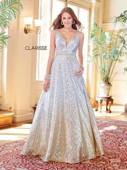 Style 3589 Clarisse Silver Size 6 Prom Pockets Ball gown on Queenly