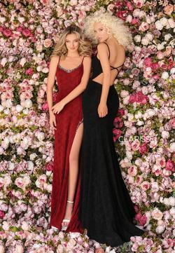 Style 8214 Clarisse Black Size 4 Sorority Formal Tall Height Side slit Dress on Queenly