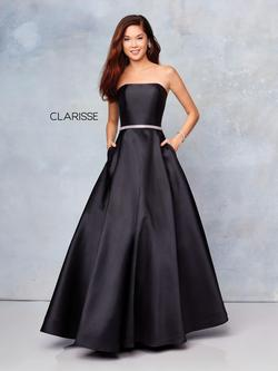 Style 3739 Clarisse Black Size 8 Prom Tall Height Ball gown on Queenly