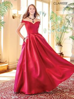 Style 3442 Clarisse Red Size 6 Belt Corset Tall Height Ball gown on Queenly