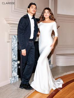Style 3841 Clarisse White Size 0 Wedding Tall Height Mermaid Dress on Queenly