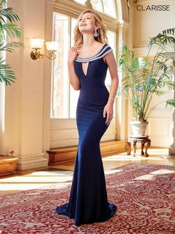 Style 3409 Clarisse Blue Size 8 Flare Sorority Formal Mermaid Dress on Queenly