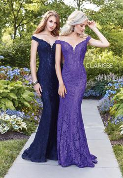 Style 4801 Clarisse Purple Size 6 Tall Height Lace Mermaid Dress on Queenly