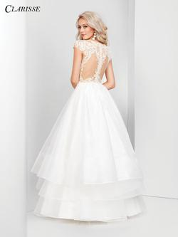 Style 3500 Clarisse White Size 10 Quinceanera Nude Tall Height Ball gown on Queenly