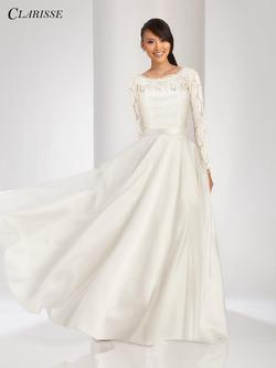 Style 3490 Clarisse White Size 6 Sleeves Quinceanera Mini Tall Height Ball gown on Queenly