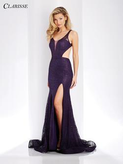Style 3448 Clarisse Purple Size 4 Sorority Formal Tall Height Lace Side slit Dress on Queenly