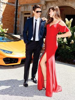 Style 3846 Clarisse Red Size 4 Sorority Formal Tall Height Side slit Dress on Queenly