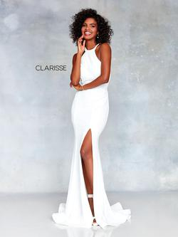Style 3830 Clarisse White Size 00 Halter Sorority Formal Tall Height Side slit Dress on Queenly