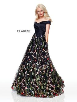 Style 3803 Clarisse Black Size 10 Prom Ball gown on Queenly